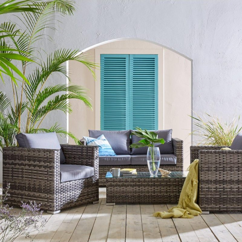 4 seater rattan sofa set
