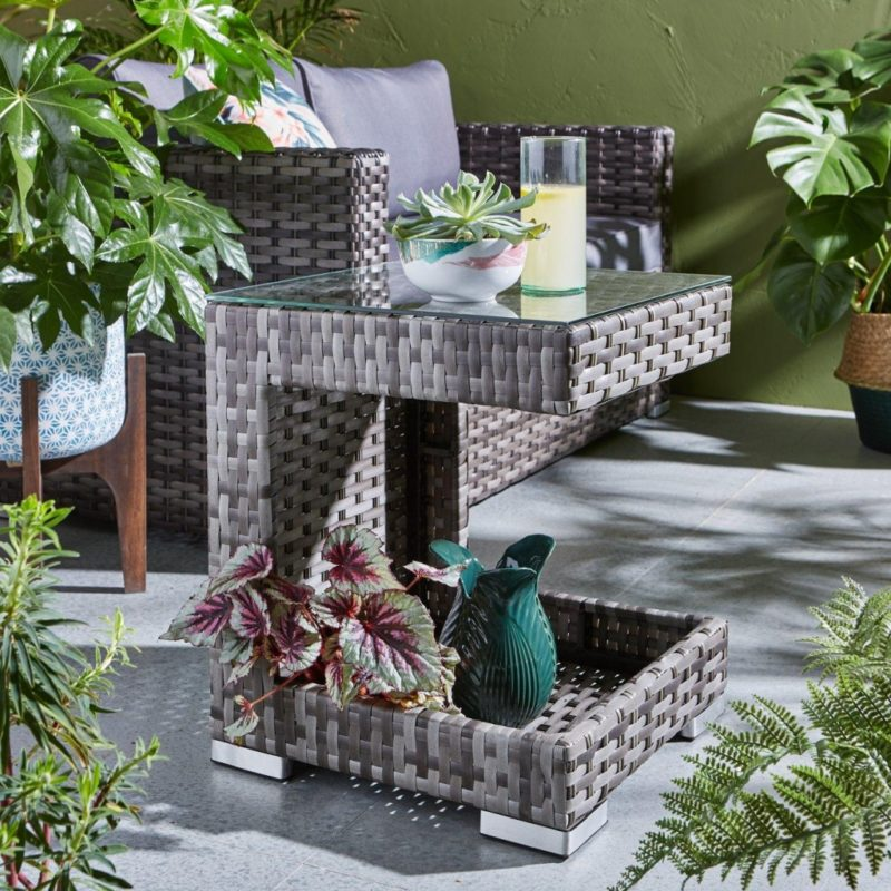 Rattan side table with glass top and storage base
