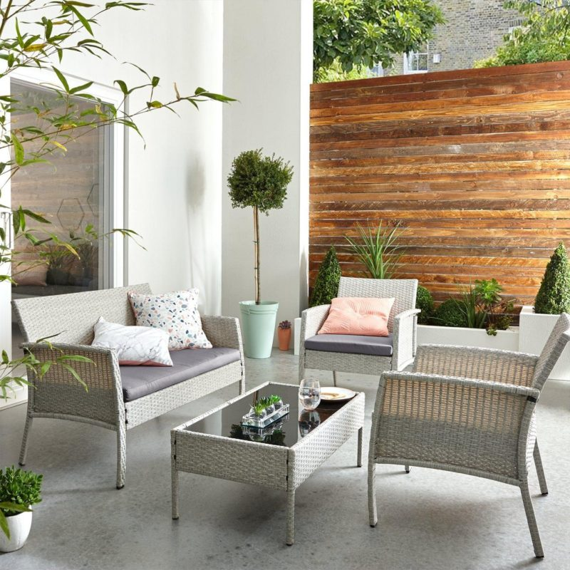 Rattan sofa, armchair and coffee table