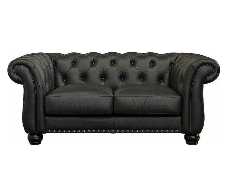 2-seater black leather sofa