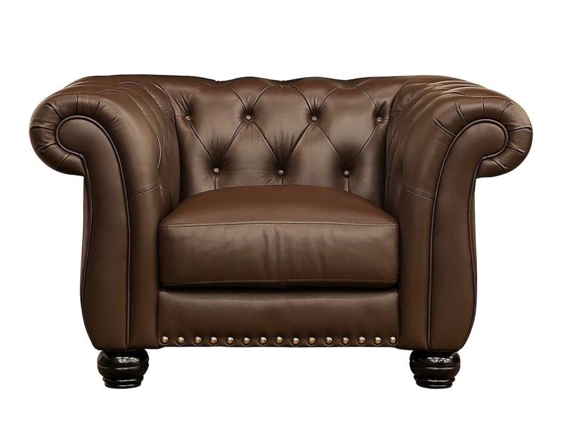 Chesterfield-style leather armchair