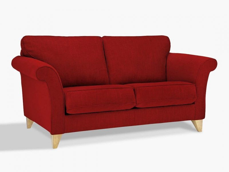 Red fabric 3-seater sofa