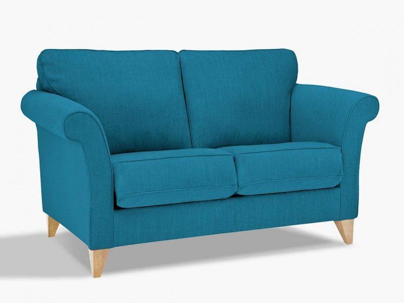 Teal fabric 2-seater sofa