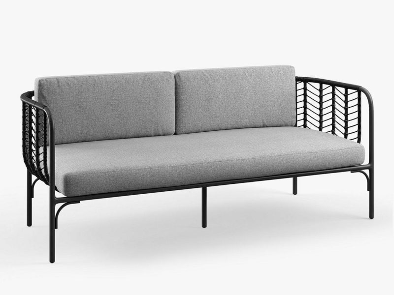 Black rattan sofa with grey cushions