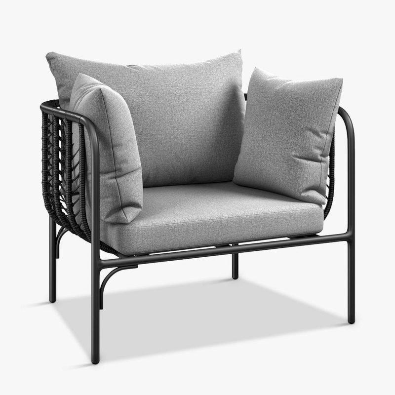 Black rattan armchair with grey cushions