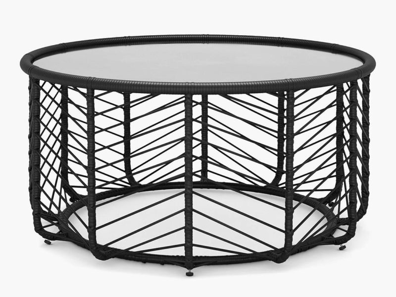 Round black rattan coffee table