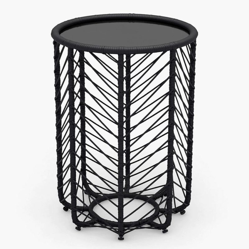 Black rattan side table