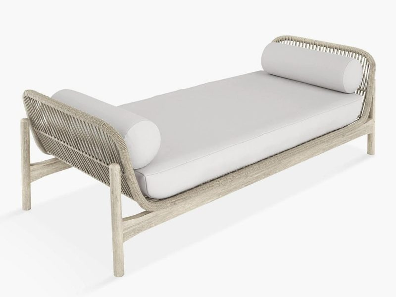 Day bed with solid wood and rope frame