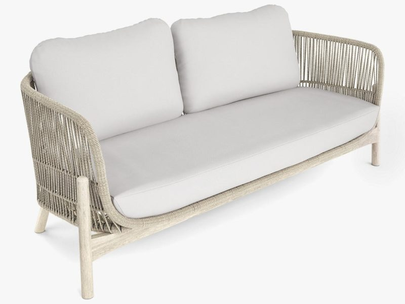 Garden sofa with rope and wood frame