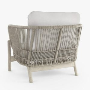 Garden chair with wood and rope frame