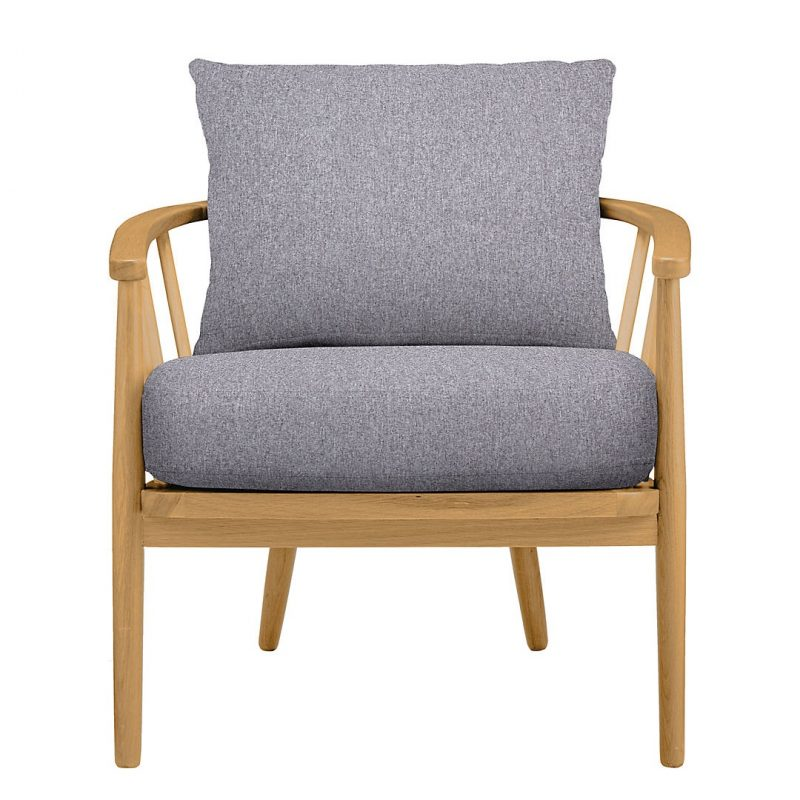 Grey fabric and wood armchair
