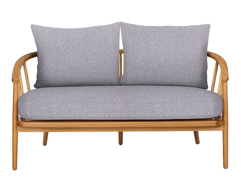 Grey fabric and wood loveseat