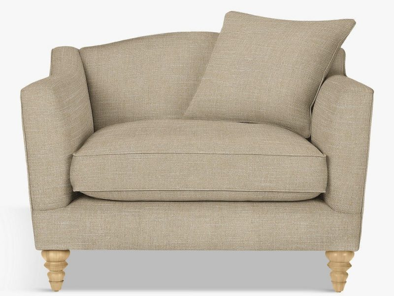 Fabric upholstered snuggle sofa
