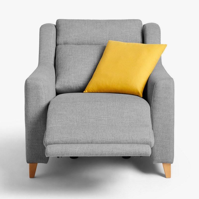 Grey fabric reclining armchair