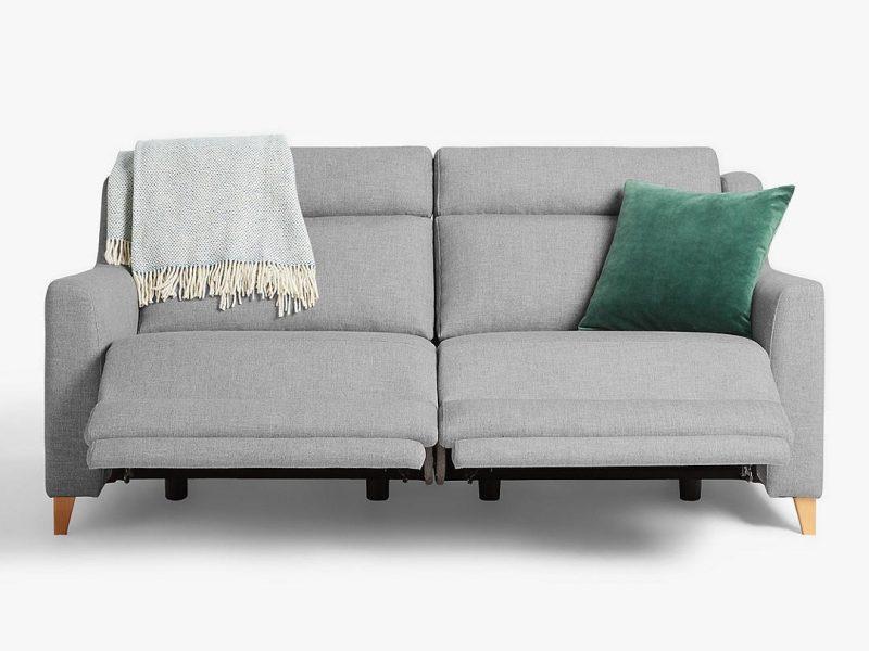 Large grey fabric reclining sofa