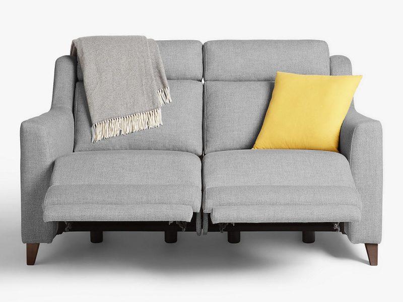 2-seater grey fabric reclining sofa