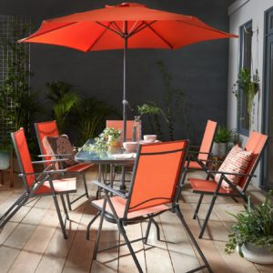 Black and orange dining set