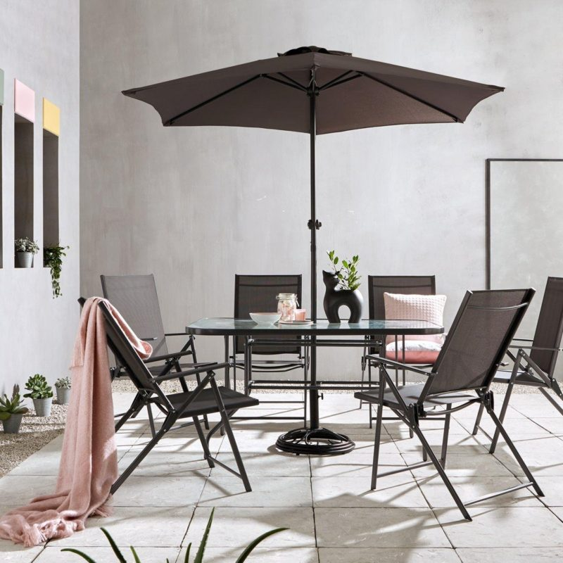 Dark grey outdoor dining set
