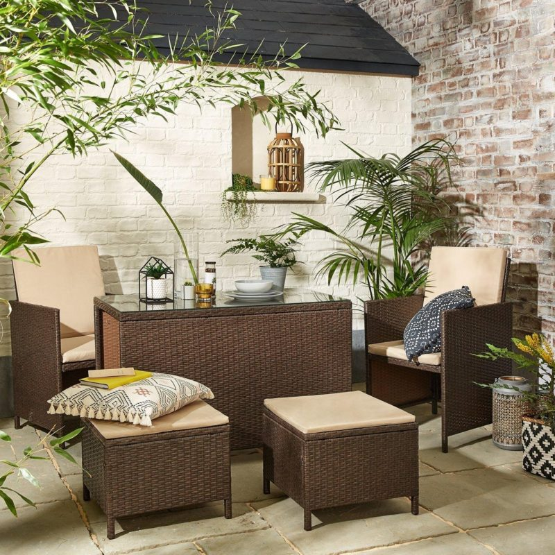 Rattan chairs, table and footstools