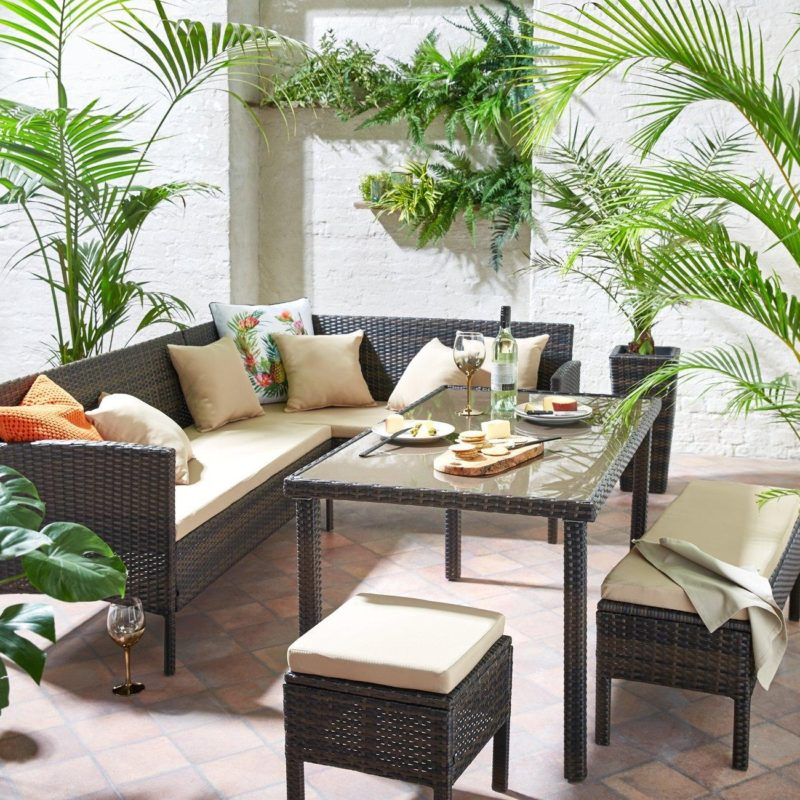 Rattan outdoor corner set
