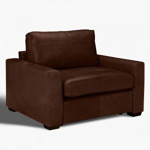 Leather snuggler armchair