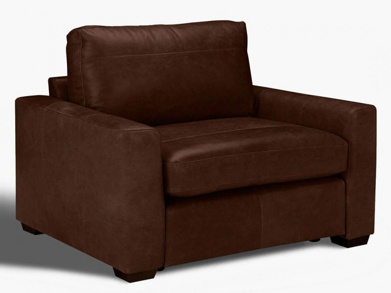 Wide leather armchair