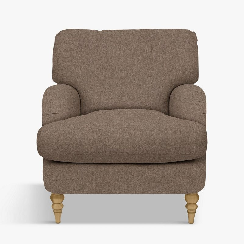 Natural brown coloured fabric armchair