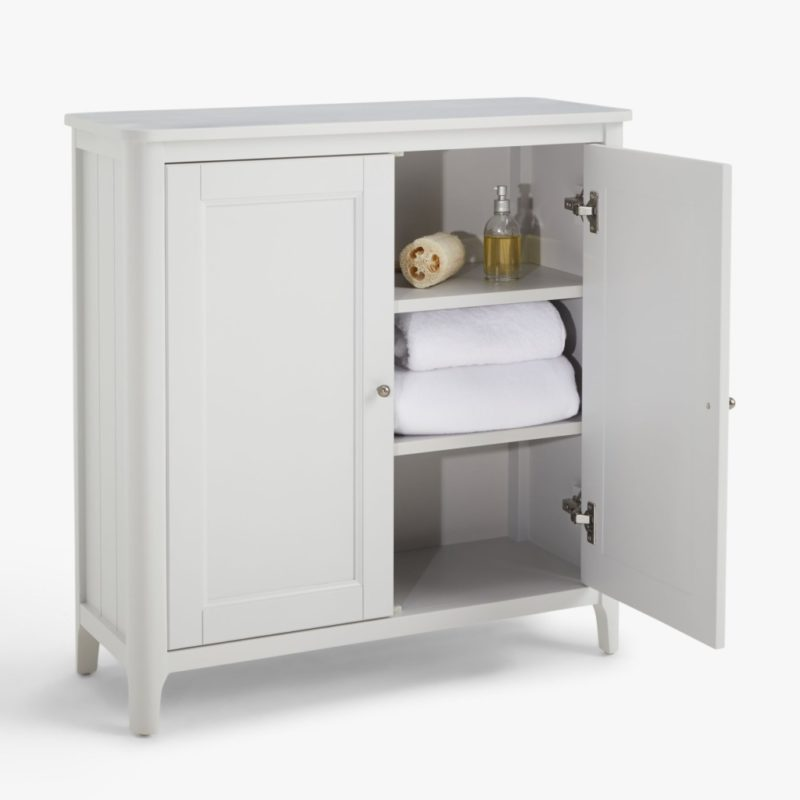 2-door grey painted towel cupboard
