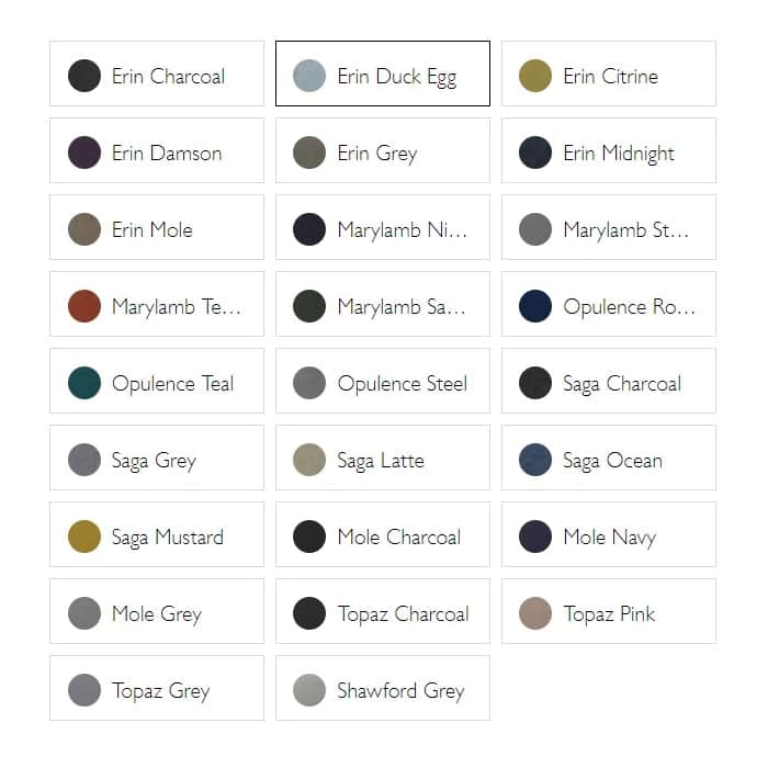 Ruen fabric and colour options