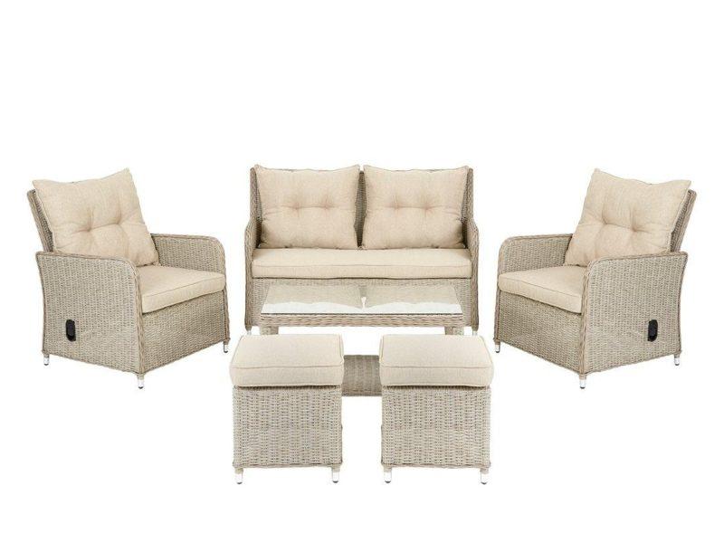 Rattan sofa, 2 recliners and 2 footstools