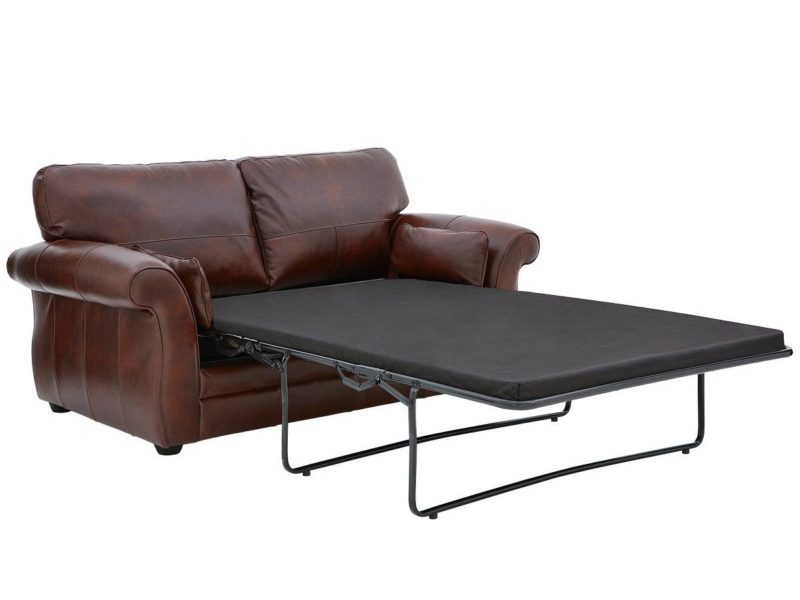2 seater leather sofa with pull-out bed