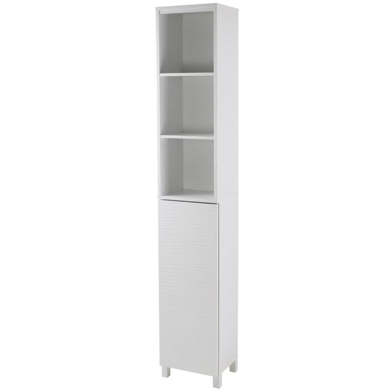 Tall white freestanding bathroom cabinet