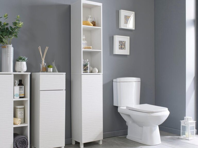 White bathroom units with textured pattern door fronts