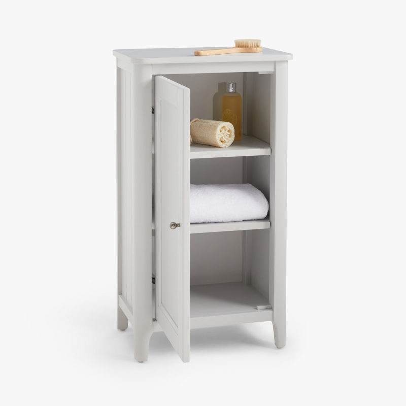 Grey-painted towel cupboard