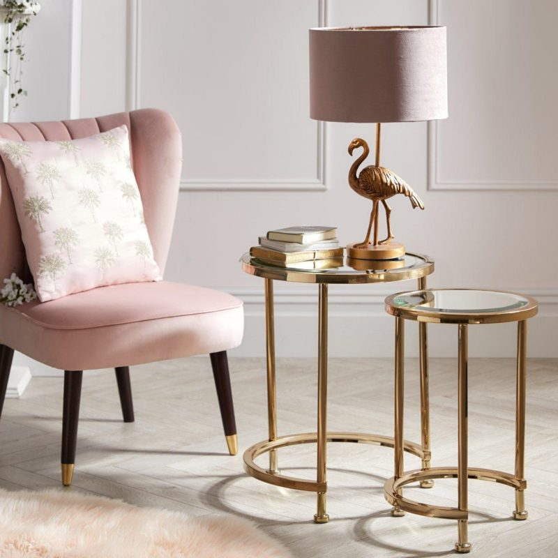 Round nested tables with gold coloured frames