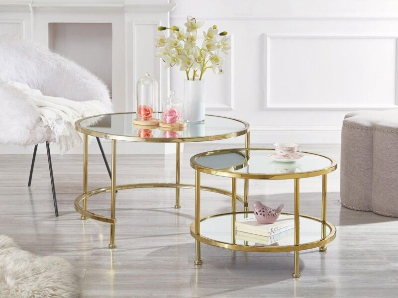 Gold coloured nested coffee tables