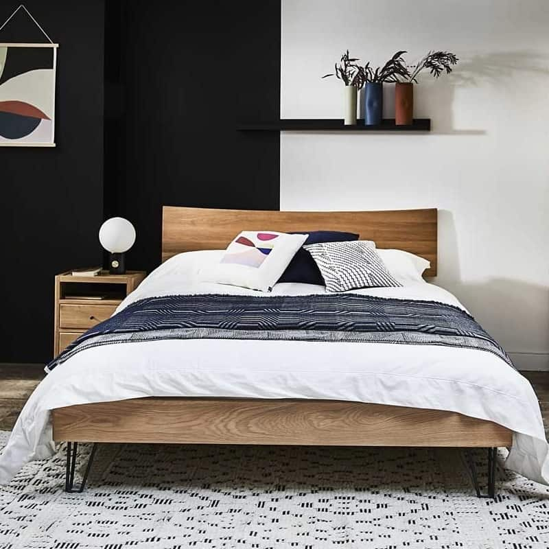 Oak bed and bedside table