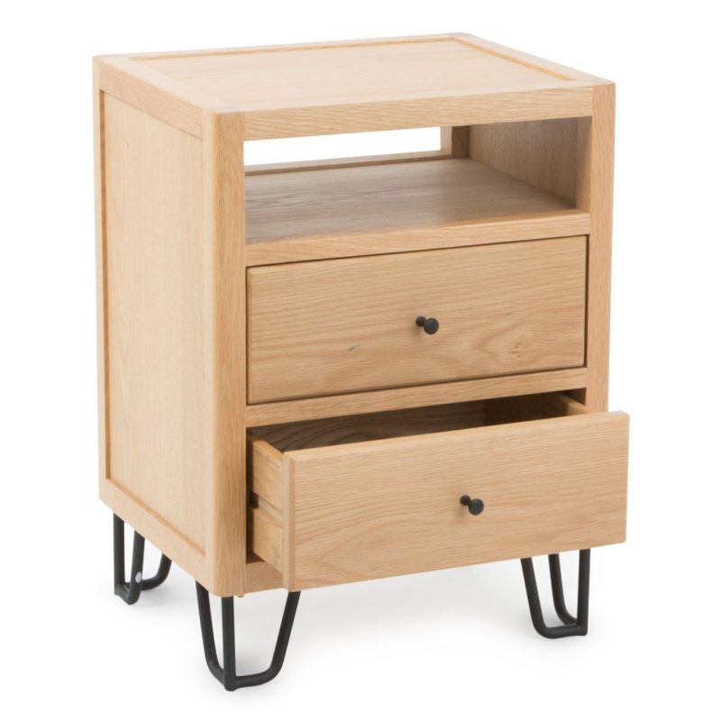 Oak 2-drawer bedside table