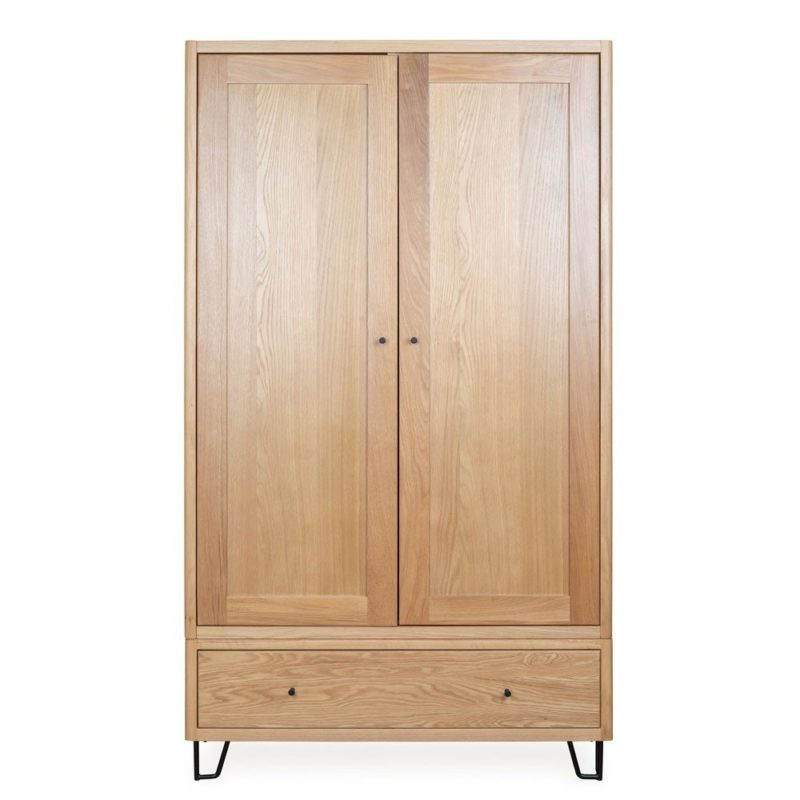 Oak wardrobe with drawer