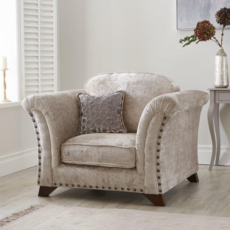 Grey textured fabric armchair