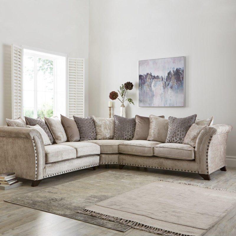Grey fabric corner group sofa