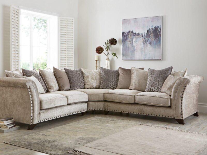 Fabric scatter-back corner sofa