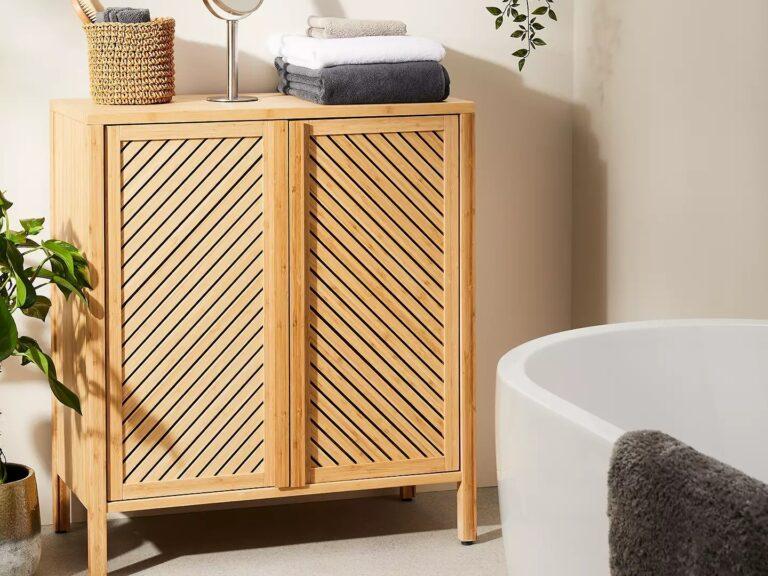 Bamboo bathroom cabinet with chevron pattern doors