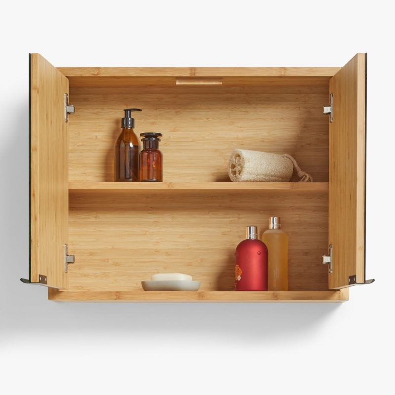 Bamboo wood wall cabinet with internal shelf