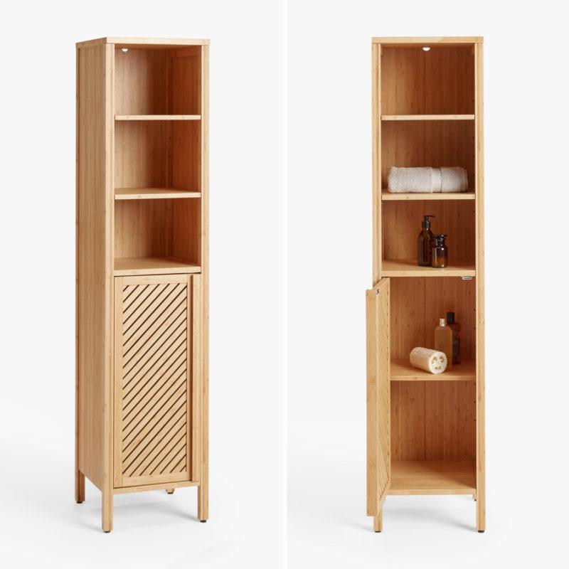 Bamboo wood tallboy cabinets