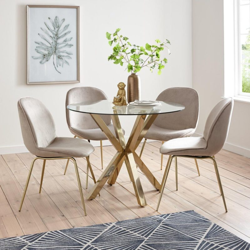 Glass dining table with 4 taupe chairs