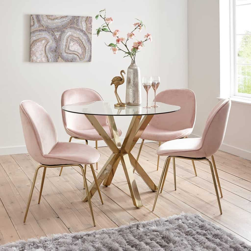 Glass table with 4 pink velvet chairs