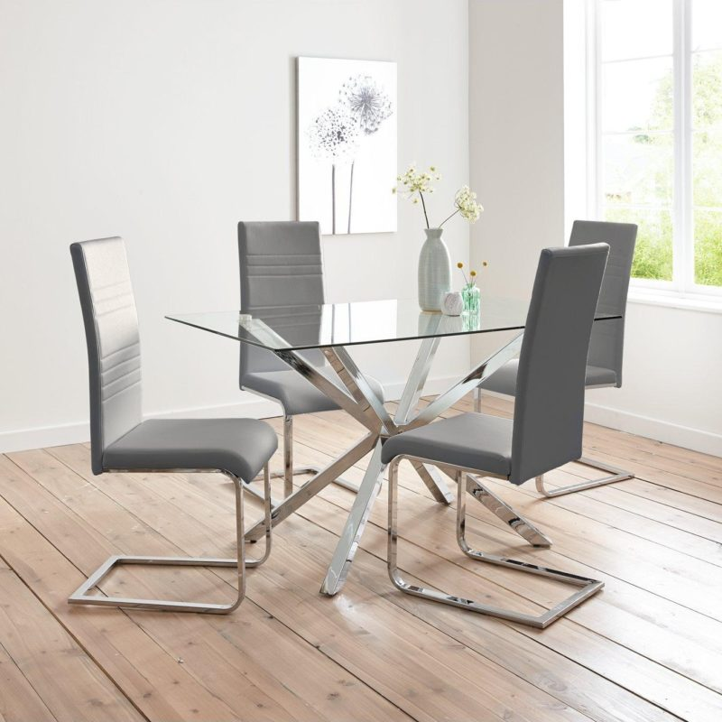 Rectangular glass table with 4 chairs