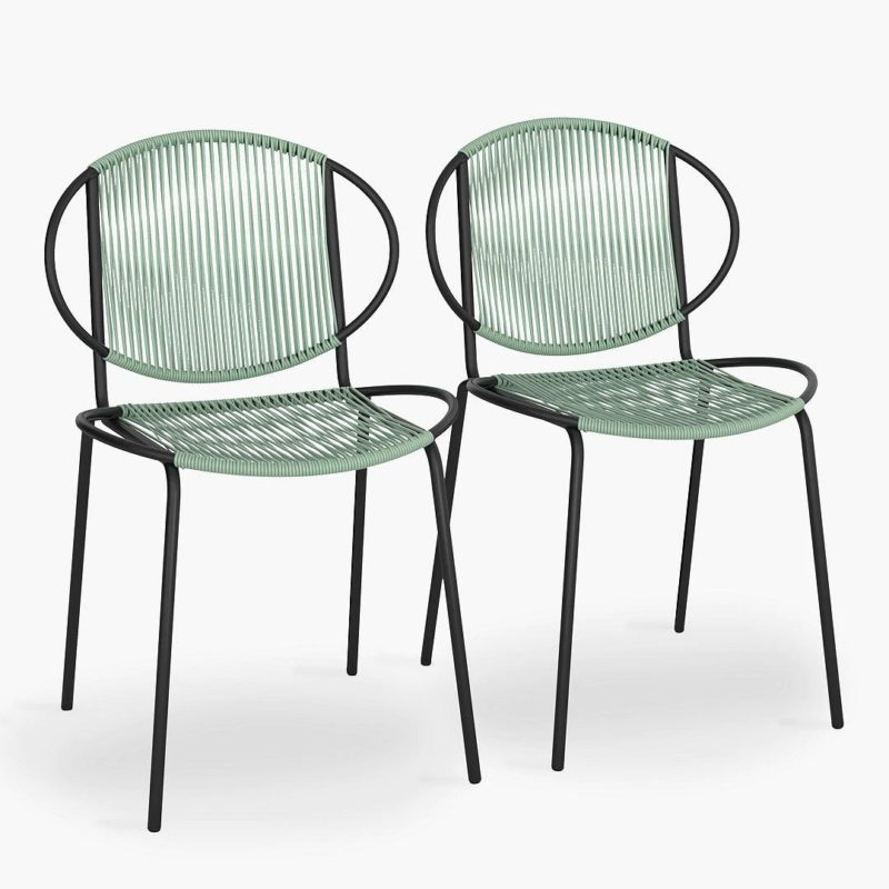 Black bistro chairs with green weave seats and backs
