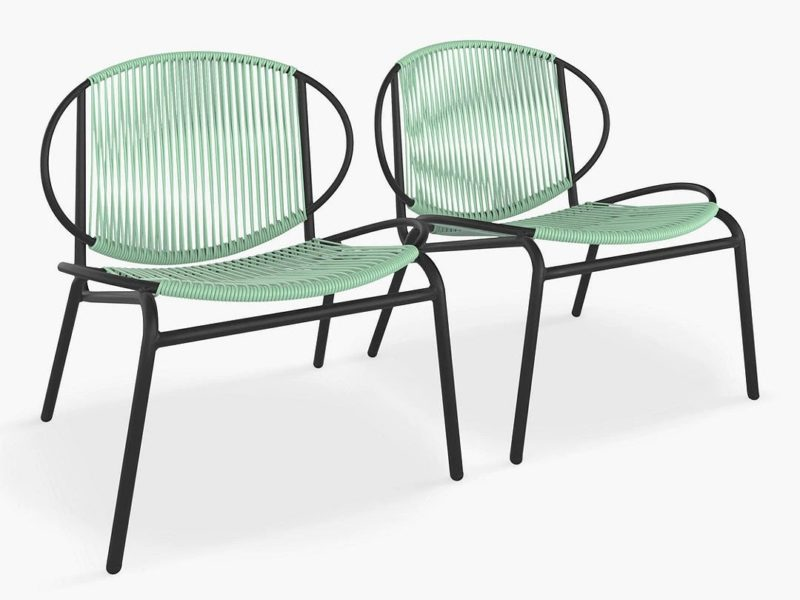 Pair of garden lounging chairs with green weave seats and back